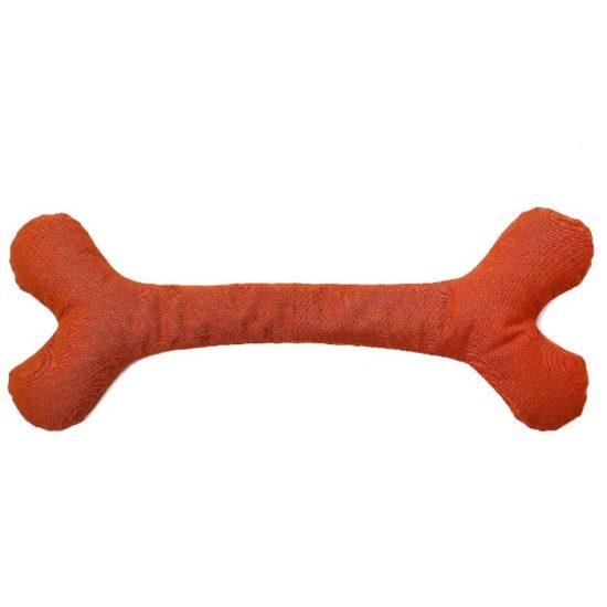Hundespielzeug grosser Stoff Knochen aus Öko Baumwolle unbedenklich in Orange