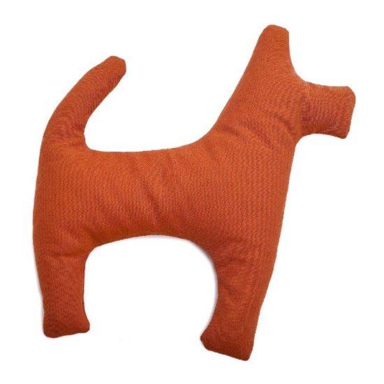 Natürliches Hundespielzeug gross ohne Schadstoffe aus Öko Baumwolle mit Bio Dinkel gefüllt in orange