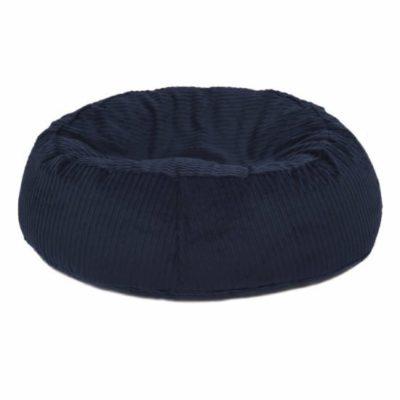 ovaler Hundekissen Bezug waschbar wechselbar mit Reissverschluss aus Bio Breitcord Baumwolle in dunkelblau